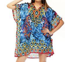 Women's Floral Paisley Print Short Kaftan Tunic Mini Dress Beachwear Caftan Blue