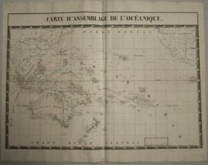 OCEANIA 1827 VANDERMAELEN LARGE ANTIQUE ORIGINAL COLORED LITHOGRAPHIC MAP