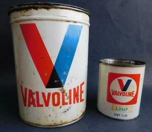 Vintage Early VALVOLINE Grease Can Tin Pair Garage Automobilia