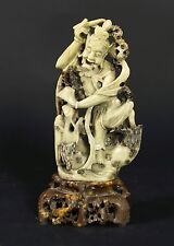 """Large Vintage Chinese Hand Carved Statue Green Soapstone Man Dragon 13.5"""" Stone"""