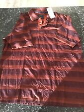 Back Bay Double Mercerised Cotton Polo  extra extra large  BROWN STRIPE BNWT