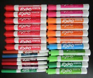 *24 pc LOT: EXPO Low-Odor Dry Erase Chisel & Fine Tip Markers Var Colors L@@K*