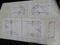 Antique Table Runners Doilies handmade Embroidery & Lace Vintage Lot Set of 4