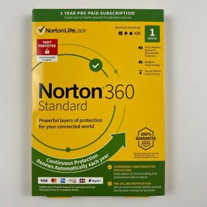 Norton 360 Standard 1 Year 1 Device US Canada Real-time Threat Protection