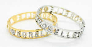 Bracciale Donna Acciaio Strass Nome SORELLE Colore Argento Oro Giallo Bracelet