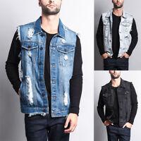 Victorious Men's Washes Distressed Denim Vest Sleeveless Jacket S~5XL -DK101-A3G