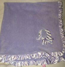 Babykiss Purple Baby Kiss Blanket Zebra Stripe Elephant Satin Ruffle Lovey