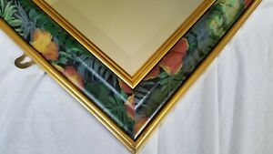Gold Multi Painted Wall Mirror Tropical Flower Black Beveled 80 90 Gilt Ornate
