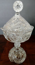 HOFBAUER GERMAN Crystal Compote/Candy Dish Lidded Birds Engraved Fine Piece