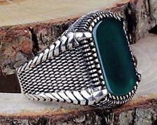 Turkish Handmade  925 Sterling Silver Emerald Mens Ring Sz 11 us Free Resize