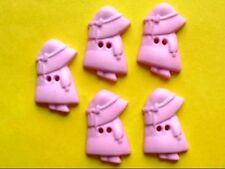 70 pcs Little Girl with Hat Pink Buttons Scrapbooking Applique SB73