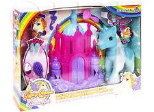 Unicorns Set Castle Accessories Kids Pretend Play Gift Childrens Pony Horse Toy