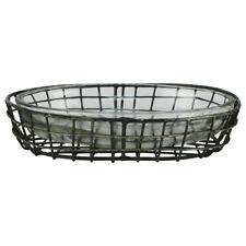 Primitive Style Metal Wire Glass Bath Soap Dish Farmhouse Bathroom Kitchen Decor