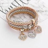 3Pcs Rhinestone Heart Charm Bracelets Set Gold Silver Rose Gold Bangle Jewelry