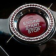 Pink Car Suv Decorative Pink Button Start Switch Diamond Ring Auto Accessories