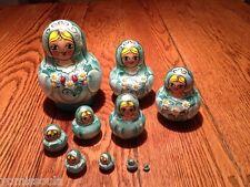 Russian 20 piece (10 Dolls) Matryoshka Nesting Dolls Green w/Gold Trim
