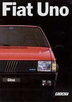 Fiat Uno Prospekt 1987 2/87 Autoprospekt Broschüre brochure prospetto broschyr
