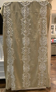 """Anthropologie Linen Curtain Panel 50""""x 96"""" Embroidery Detail Natural Boho"""