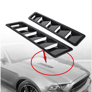 2x Black Car Decoration Air Flow Intake Hood Scoop Bonnet Vent Cover Universal