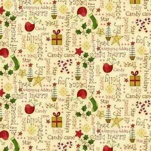 Henry Glass Christmas Elves Fabric Cream 100% Cotton per 1/2m