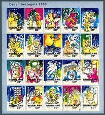 OLANDA - 2000 - Natale. Autoadesivi. Foglio di 20 val. con informazioni al verso