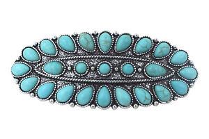 Southwest Bohemian Faux blue faux Turquoise squash Blossom hair barrette