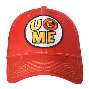 WWE AUTHENTIC JOHN CENA U Can'T See Me Red Baseball Cap Hat - BRAND NEW