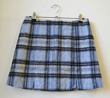 New Look skirt - plaid checked light blue grey wool blend mini skirt UK 10