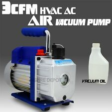 Single Stage 3CFM 1/4HP Rotary Vane Vacuum Pump HVAC Air AC A/C R410a R134a etc