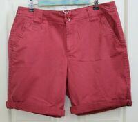 St Johns Bay Womens 16 (36) Red Weathered Cuffed Chino Shorts Stretch 12-19834