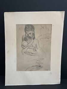Pablo Picasso Lithograph Of A Mother And Baby