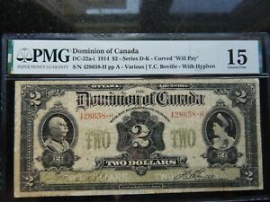 1914 DOMINION OF CANADA TWO DOLLARS $2 DC-22a-i CERTIFIED PMG CHOICE FINE 15