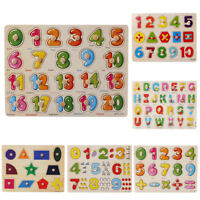 Wooden Number Lette Puzzle Jigsaw Early Learning Baby Kids Educational Learn Toy
