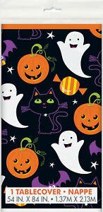 Halloween Cat Pumpkin, Ghost Plastic Party Table Cover Family Friendly 137 x 213