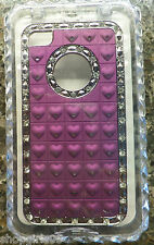 NEW! Pink Heart Bling Diamond Rhinestone Aluminium Case Cover For iPhone 4 4S 4G