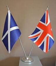 "SCOTLAND ST ANDREW UNION JACK DELUXE SATIN TABLE FLAG 9""X6"" CHROME POLE & BASE"