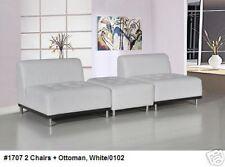 Modern classic deign white Leather 2 armless chairs + 1 ottoman 3PC set #1707