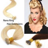 1G Nano Ring Nano Tip 100% REMY Human Hair Extensions UK + FREE NANO BEADS UK
