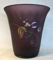 "Fenton Art Glass Hand Painted ""Berry Confection"" On Aubergine Satin Flip Vase"