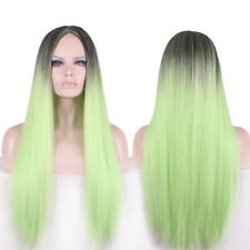 Fashion Women Long Straight Ombre Color Black/Light Green Hair Full Wig