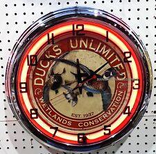 "17"" DUCKS UNLIMITED Sign Neon Clock Wetlands Conservation"