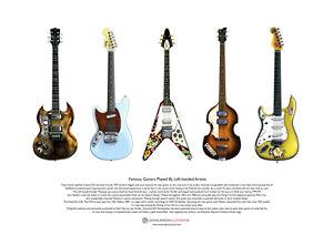 Five Famous Left-handed Guitars ART POSTER A3 size