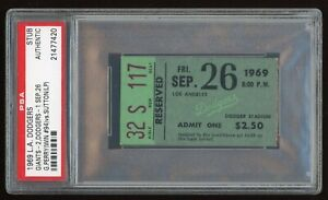 Gaylord Perry Win #94 September 26 1969 9/26/69 Dodgers Giants Ticket Stub PSA