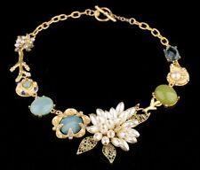 Imposant Collier Chaîne de luxe designer Strass Cristal Fleur Aigue-Marine