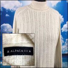 Peruvian Alpaca & Silk Sweater Cable Knit Turtleneck Cream Ivory Peru Women's  M