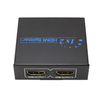 2 Port HDMI Splitter Box With Power Adapter 1 to 2 Monitor HD TV Mirror
