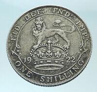 1922 Great Britain UK King George V United Kingdom SILVER SHILLING Coin i79101