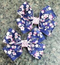 Set of 2 cherry blossoms hair bow baby girl nonslip alligator clip pink flowers