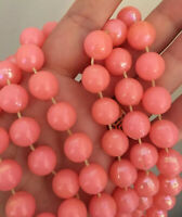 Vtg 1960s Lucite Beaded Necklace Bright Pink Iridescent Hue Strand RETRO 27""