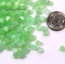 Tube Glass Beads, Green w/ Satin Finish, 4X4mm, Atlas Czech Beads, 50 Pcs, 0108